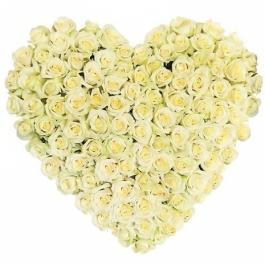 Srdce z bílých růží